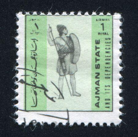 ajman: AJMAN - CIRCA 1972: stamp printed by Ajman, shows soldier, circa 1972