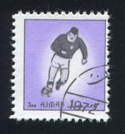 AJMAN - CIRCA 1972: stamp printed by Ajman, shows football, circa 1972