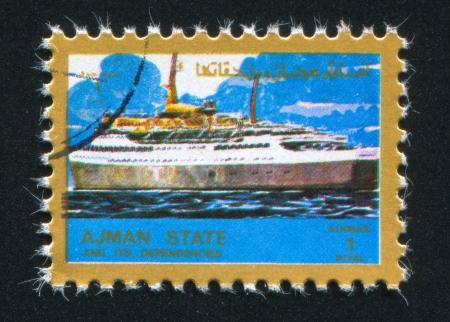 ajman: AJMAN - CIRCA 1972: stamp printed by Ajman, shows steamship, circa 1972 Editorial