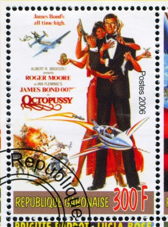 GABON - CIRCA 2006: stamp printed by Gabon, shows Poster, James Bond, circa 2006 Editorial