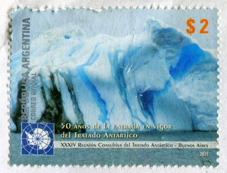ARGENTINA - CIRCA 2011: stamp printed by Argentina, shows iceberg, circa 2011 Stock Photo - 15418686