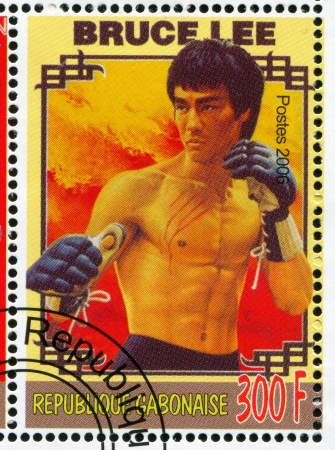 GABON - CIRCA 2006: stamp printed by Gabon, shows Poster Bruce Lee, circa 2006
