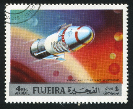 FUJEIRA - CIRCA 1991: stamp printed by Fujeira, shows spacecraft, circa 1991