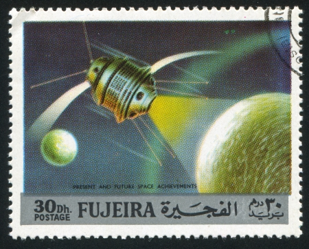 FUJEIRA - CIRCA 1991: stamp printed by Fujeira, shows spacecraft, circa 1991
