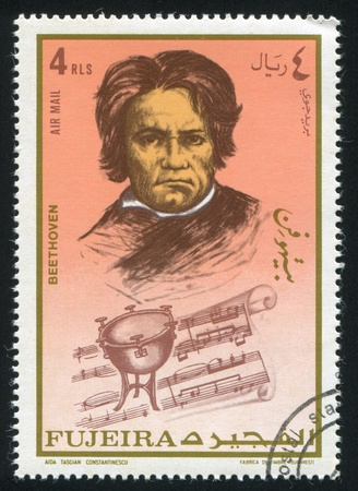 FUJEIRA - CIRCA 1972: stamp printed by Fujeira, shows Ludwig van Beethoven, circa 1972 Stock Photo - 15438256