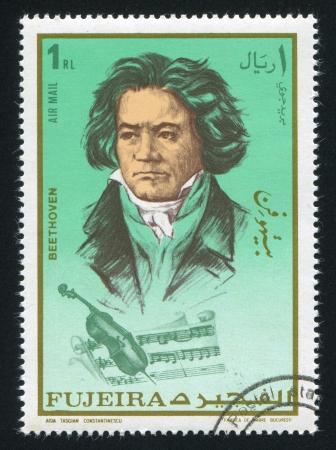 fujeira: FUJEIRA - CIRCA 1972: stamp printed by Fujeira, shows Ludwig van Beethoven, circa 1972