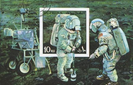 fujeira: FUJEIRA - CIRCA 1991: stamp printed by Fujeira, shows astronaut, Neil Alden Armstrong, circa 1991 Editorial