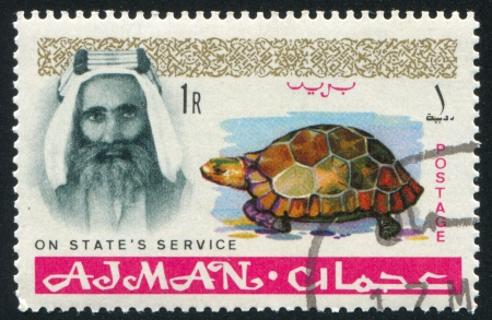sheik: AJMAN - CIRCA 1964: stamp printed by Ajman, shows Sheik Rashid bin Humaid al Naimi and tortoise, circa 1964 Editorial