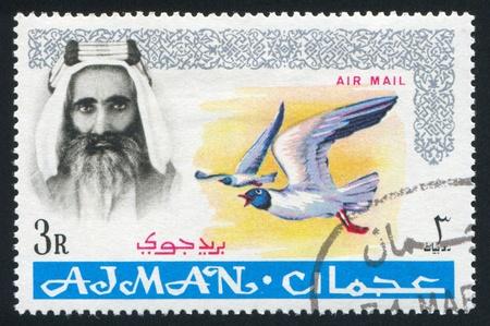 sheik: AJMAN - CIRCA 1964: stamp printed by Ajman, shows Sheik Rashid bin Humaid al Naimi and bird, circa 1964