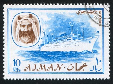 sheik: AJMAN - CIRCA 1964: stamp printed by Ajman, shows Sheik Rashid bin Humaid al Naimi and ship, circa 1964