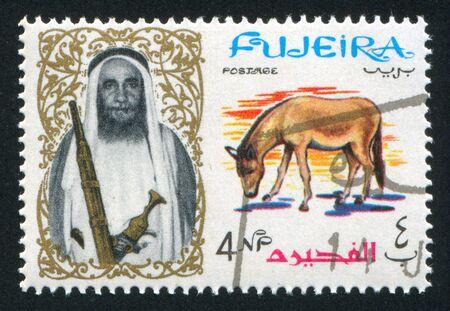 sheik: AJMAN - CIRCA 1964: stamp printed by Ajman, shows Sheik Rashid bin Humaid al Naimi and horse, circa 1964