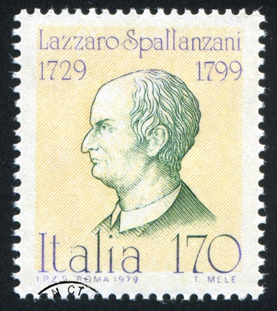physiologist: ITALY - CIRCA 1979: stamp printed by Italy, shows Lazzaro Spallanzani, circa 1979 Editorial