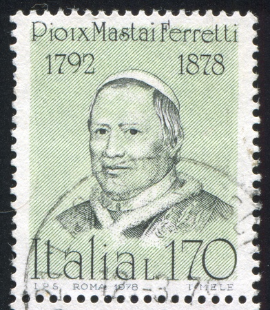 pius: ITALY - CIRCA 1978: stamp printed by Italy, shows Pope Pius IX, circa 1978