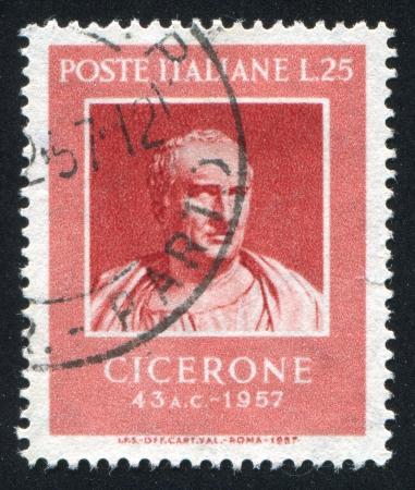 ITALY - CIRCA 1957: stamp printed by Italy, shows Marcus Tullius Cicero, Roman Statesman and Writer, circa 1957 Stock Photo - 15452768