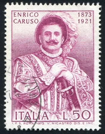 ITALY - CIRCA 1973: stamp printed by Italy, shows Enrico Caruso, Operatic Tenor, circa 1973 Stock Photo - 15438957