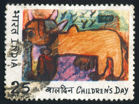 india cow: INDIA - CIRCA 1975: stamp printed by India, shows painting of cow, circa 1975 Editorial