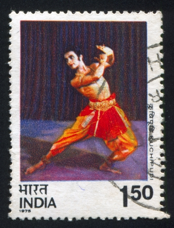kuchipudi: INDIA - CIRCA 1975: stamp printed by India, shows man dancing Kuchipudi, circa 1975