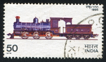 INDIA - CIRCA 1976: stamp printed by India, shows train, circa 1976 Stock Photo - 15508929