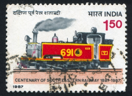 INDIA - CIRCA 1987: stamp printed by India, shows train, circa 1987 Stock Photo - 15508979