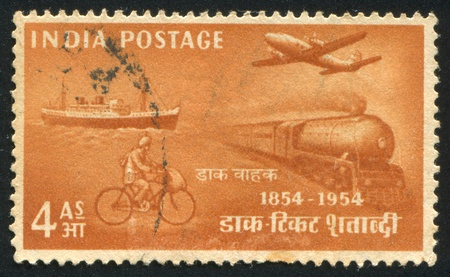 INDIA - CIRCA 1954: stamp printed by India, shows post transport, circa 1954