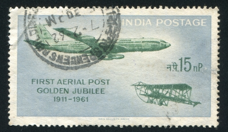 INDIA - CIRCA 1961: stamp printed by India, shows planes in the sky, circa 1961