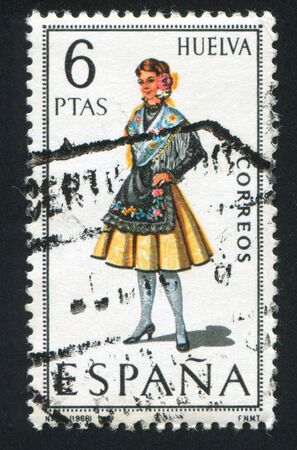 SPAIN - CIRCA 1968: stamp printed by Spain, shows woman Regional Costumes, circa 1968 Stock Photo - 15508922