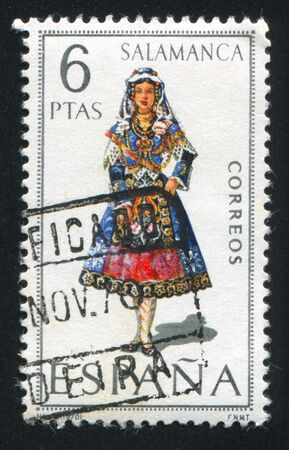 SPAIN - CIRCA 1970: stamp printed by Spain, shows woman Regional Costumes, circa 1970. Stock Photo - 15508938
