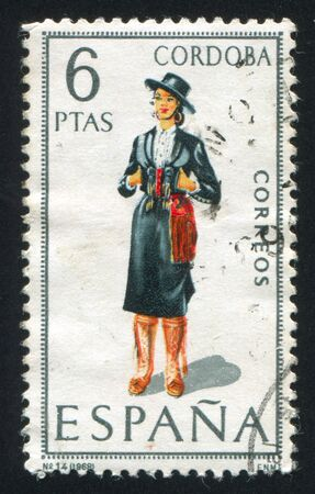 SPAIN - CIRCA 1968: stamp printed by Spain, shows woman Regional Costumes, circa 1968 Stock Photo - 15508895