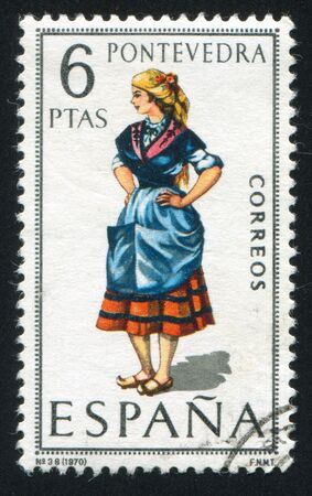 SPAIN - CIRCA 1970: stamp printed by Spain, shows woman Regional Costumes, circa 1970. Stock Photo - 15508939