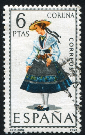SPAIN - CIRCA 1968: stamp printed by Spain, shows woman Regional Costumes, circa 1968 Stock Photo - 15508888