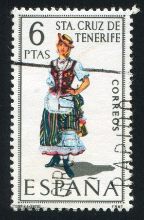 SPAIN - CIRCA 1970: stamp printed by Spain, shows woman Regional Costumes, circa 1970. Stock Photo - 15508928