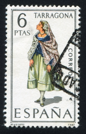 SPAIN - CIRCA 1970: stamp printed by Spain, shows woman Regional Costumes, circa 1970. Stock Photo - 15508959