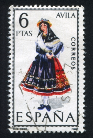 SPAIN - CIRCA 1967: stamp printed by Spain, shows woman Regional Costumes, circa 1967. Stock Photo - 15508916