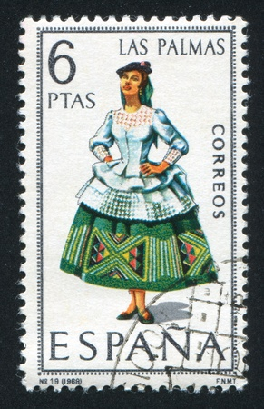 SPAIN - CIRCA 1968: stamp printed by Spain, shows woman Regional Costumes, circa 1968 Stock Photo - 15508952