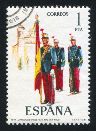 SPAIN - CIRCA 1978: stamp printed by Spain, shows soldier, Flag bearer, 1908, circa 1978.