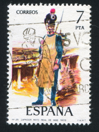 SPAIN - CIRCA 1975: stamp printed by Spain, shows soldier, Sapper, 1809, circa 1975. Stock Photo - 15508982