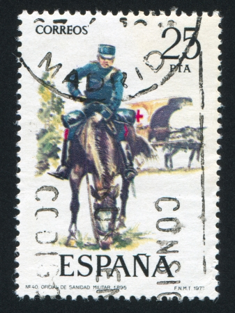 SPAIN - CIRCA 1977: stamp printed by Spain, shows rider, Medical Corps official, circa 1977.