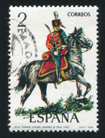 SPAIN - CIRCA 1977: stamp printed by Spain, shows rider, Lieutenant Colonel, Hussar, circa 1977. Stock Photo - 15508989