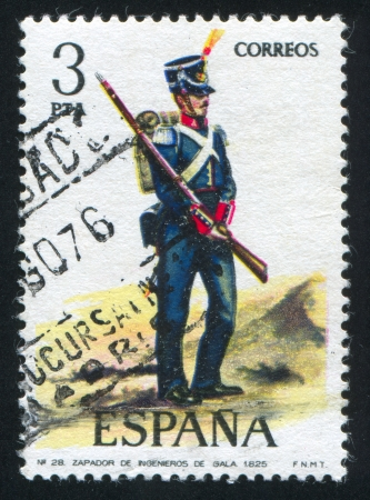 SPAIN - CIRCA 1973: stamp printed by Spain, shows soldier, Engineer in dress uniform, 1825, circa 1973. Stock Photo - 15508953