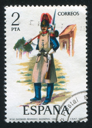 SPAIN - CIRCA 1977: stamp printed by Spain, shows soldier, Sapper, 1850, circa 1977. Stock Photo - 15508971
