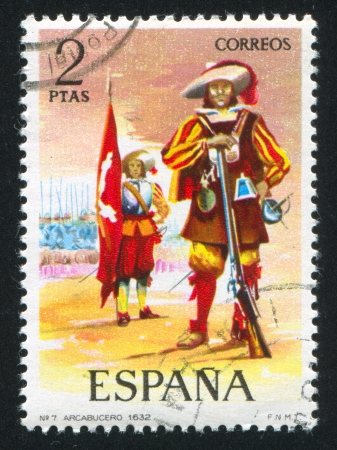 SPAIN - CIRCA 1973: stamp printed by Spain, shows soldier, Harquebusiers, 1632, circa 1973. Stock Photo - 15509054