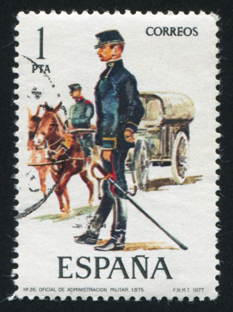 SPAIN - CIRCA 1977: stamp printed by Spain, shows Military Administration official, circa 1977. Stock Photo - 15508965