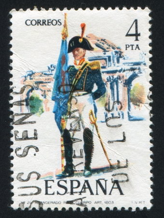 SPAIN - CIRCA 1975: stamp printed by Spain, shows Artillery standard-bearer, circa 1975. Stock Photo - 15508627