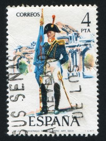 SPAIN - CIRCA 1975: stamp printed by Spain, shows Artillery standard-bearer, circa 1975. Stock Photo - 15508627