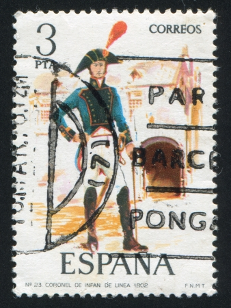 SPAIN - CIRCA 1975: stamp printed by Spain, shows Infantry Colonel, circa 1975. Stock Photo - 15508954