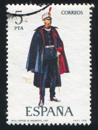 SPAIN - CIRCA 1977: stamp printed by Spain, shows Engineers captain, circa 1977. Stock Photo - 15508908