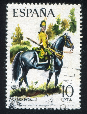 SPAIN - CIRCA 1975: stamp printed by Spain, shows rider, Dragoon, Sagunto Regiment, circa 1975.