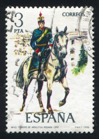 SPAIN - CIRCA 1977: stamp printed by Spain, shows rider, Mounted artillery lieutenant, circa 1977. Stock Photo - 15508949