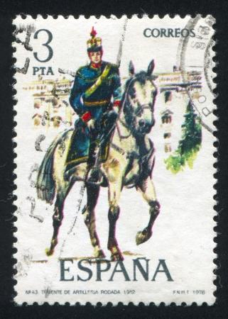 SPAIN - CIRCA 1977: stamp printed by Spain, shows rider, Mounted artillery lieutenant, circa 1977. Stock Photo - 15508949