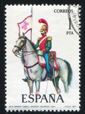 SPAIN - CIRCA 1976: stamp printed by Spain, shows Outrider, Calatrava Lancers, circa 1976. Stock Photo - 15508975